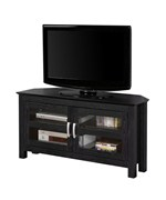 44 Inch Corner Wood TV Stand with Glass Doors by Walker Edison