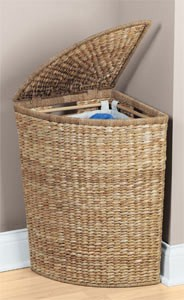 Wicker Corner Laundry Basket In Clothes Hampers