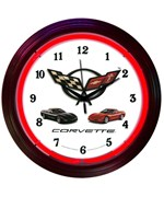 Corvette Black Rim Red Neon Clock