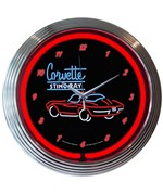 Corvette Sting Ray Neon Wall Clock by Neonetics