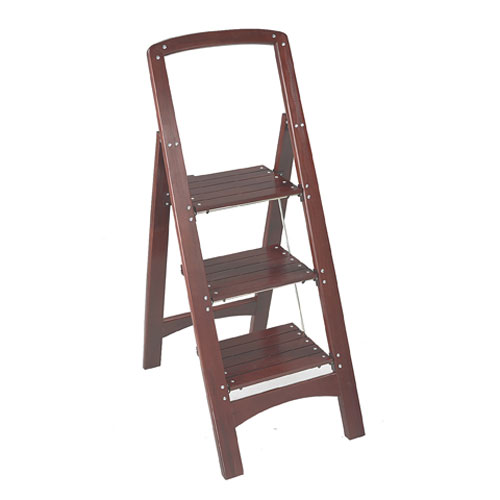 Rockford Three Step Wooden Step Stool Mahogany In Step