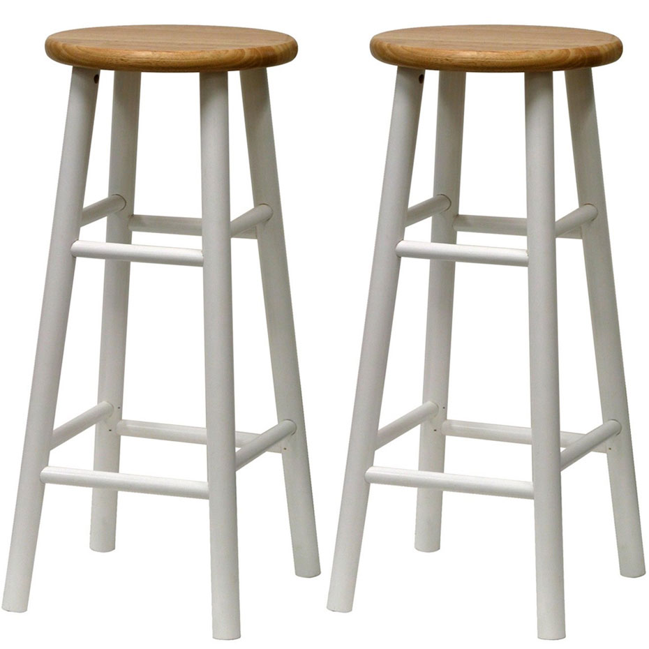 Cottage Kitchen Stools Set Of 2 In Wood Bar Stools
