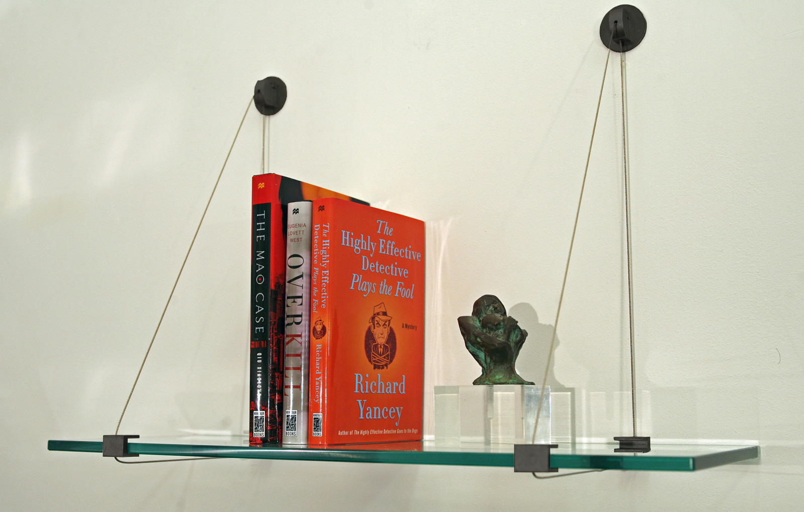 8 Inch Crane Cable Glass Shelf - Black in Wall Mounted Shelves