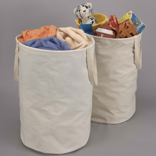Round Crunch Container With Handles In Laundry Bags