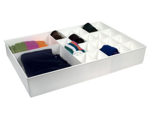 Delightful Large Cubicles Divided Drawer Organizer   White Image