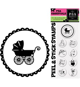Custom Rubber Stamp Inserts - Baby Shower (Set of 9) Image