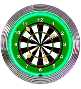 Darts Neon Wall Clock Image