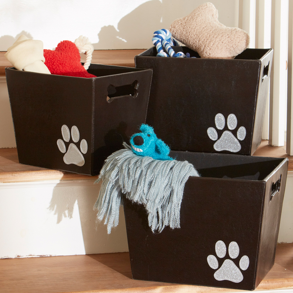 Captivating Decorative Storage Bin   Paw Print Image