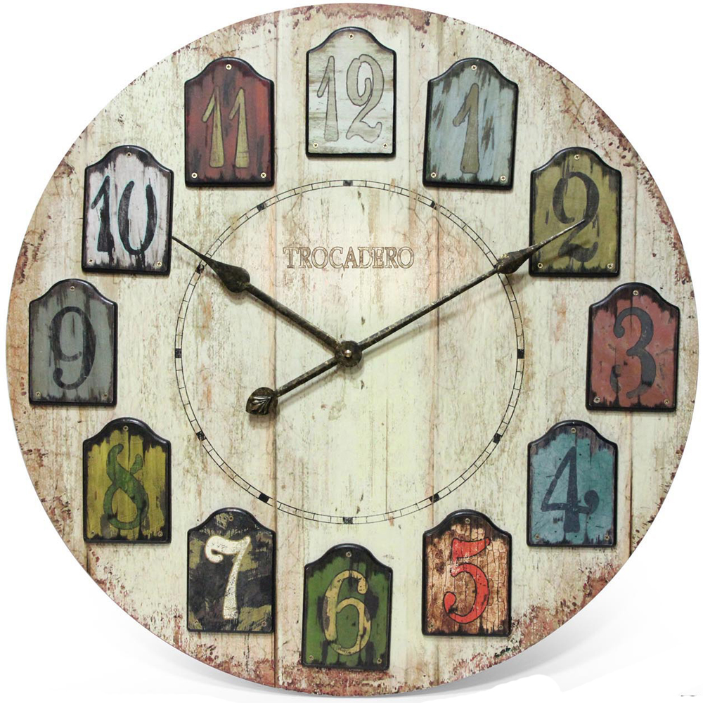 Decorative Wall Clock Weathered Plank In Wall Clocks