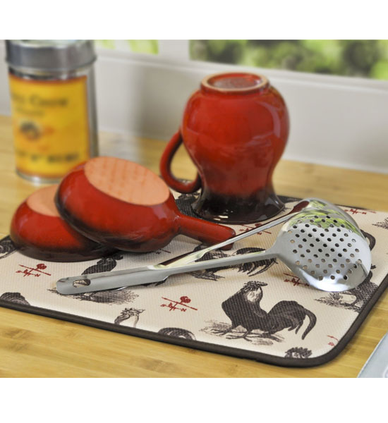 Dish Drying Mat Rooster In Dish Racks