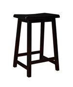 24 Inch Distressed Black Saddle Seat Bar Stool by Monarch Specialties