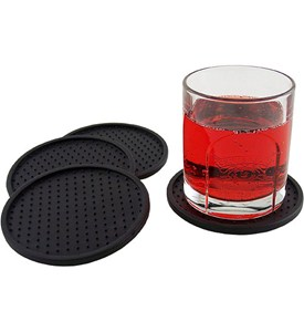 Flexible rubber dot drink coasters set of 4 in barware for Best coasters for sweaty drinks