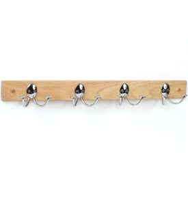 Double Hook Wood Rack - Maple and Chrome Image