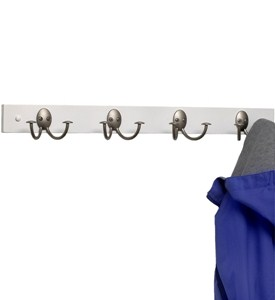 Double Hook Wood Rack - White and Nickel Image