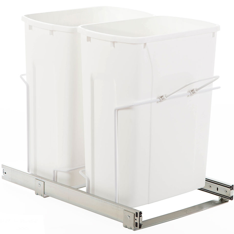 Double Pull Out Trash Bins 35 Quart In Cabinet Trash Cans