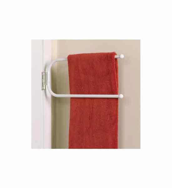 Hinged Towel Bars : Double towel bar hinge it in behind the door storage