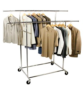 Double Bar Commercial Chrome Garment Rack Image