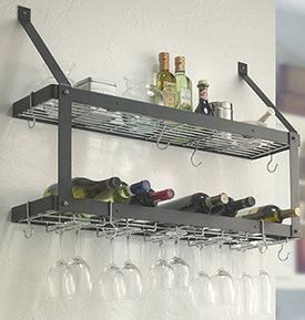 Wall Mount Double Wine And Stemware Rack In Wine Glass Racks