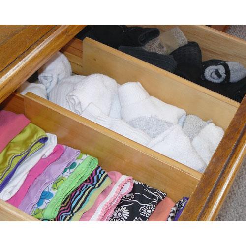 expandable wood dresser drawer dividers set of 2 in closet drawer organizers. Black Bedroom Furniture Sets. Home Design Ideas