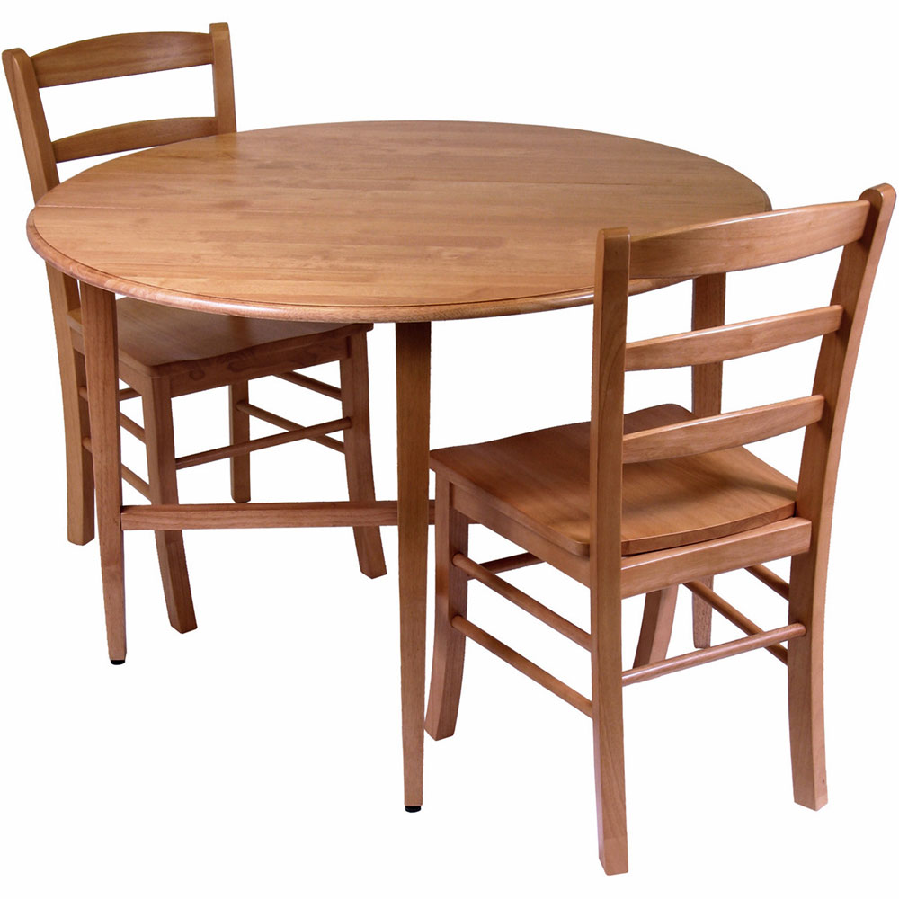 Drop leaf dining table and chairs set of 3 in dinette sets for Drop leaf dining table