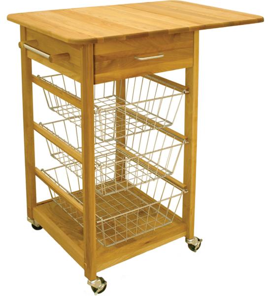 Drop Leaf Folding Basket Cart In Kitchen Island Carts