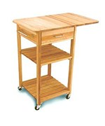 Drop Leaf Kitchen Cart with Two Slatted Shelves