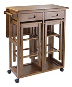 Drop Leaf Table with Two Stools - by Winsome Trading