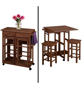 Drop Leaf Table with Two Stools - by Winsome Trading Image