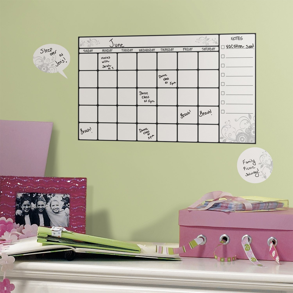 Dry Erase Calendar Decal : Dry erase calendar wall decal set of in boards