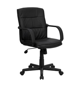 Eco-Friendly Black Bonded Leather Mid-Back Office Chair with Nylon Arms by Flash Furniture Image