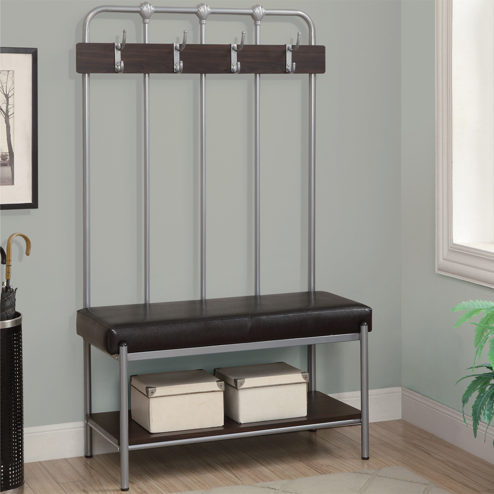 Hallway bench with coat rack in storage benches Bench with shelf