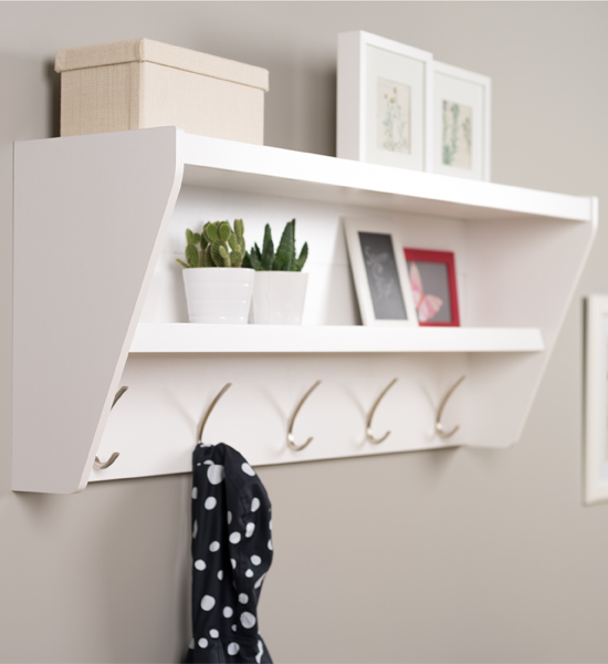 Entryway Shelf With Hooks In Entryway Storage