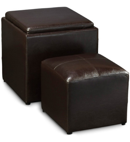 Ottomans Lifestyle Single Ottoman: Espresso Single Ottoman With Stool In Ottomans