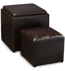 Espresso Single Ottoman with Stool Image