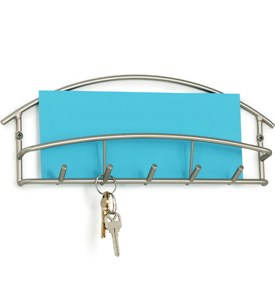 Euro Letter Holder and Key Rack - Satin Nickel Image