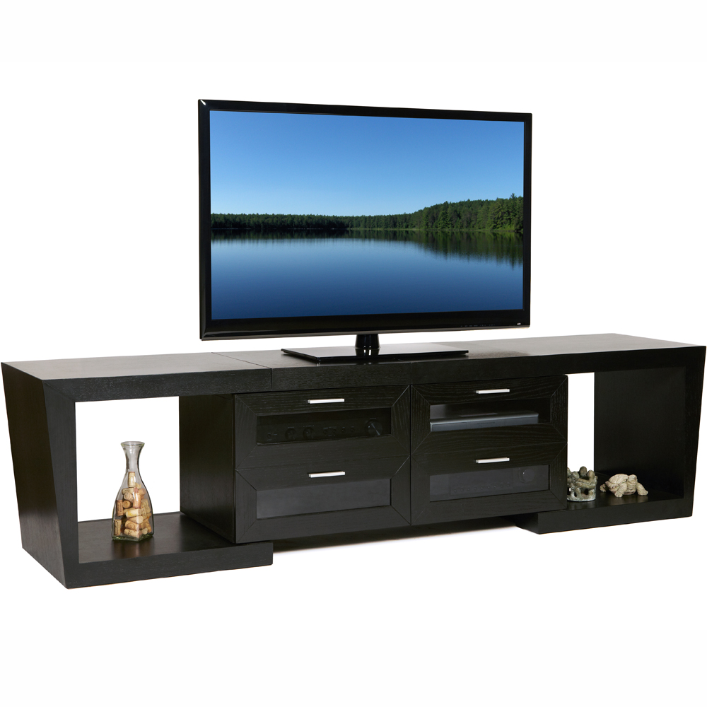Expandable Entertainment Center, Wood And Glass Entertainment Center, Low  Profile 50 Inch TV ...