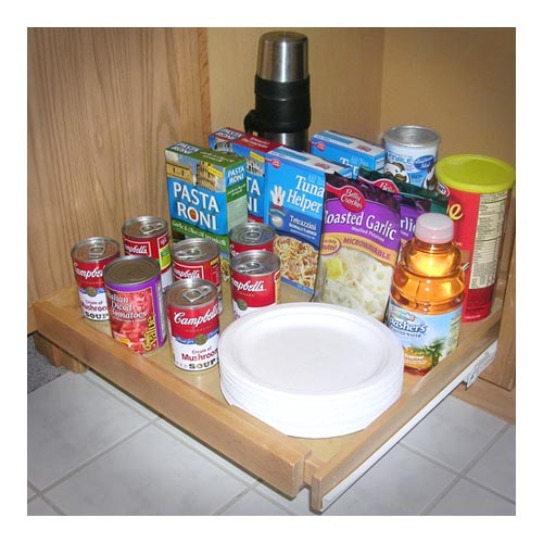 Expandable Roll-Out Wood Cabinet Shelf Image