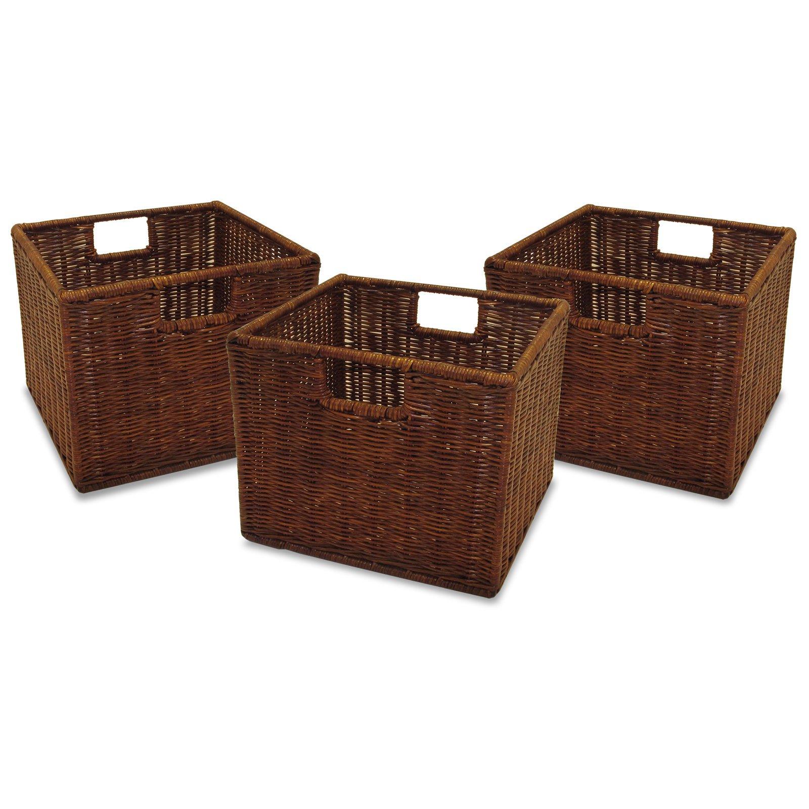 rattan storage baskets antique walnut