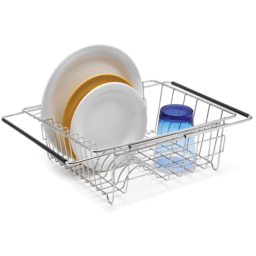stainless extendable over sink dish rack in dish racks. Black Bedroom Furniture Sets. Home Design Ideas
