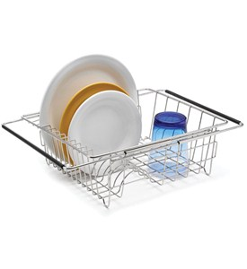 Stainless Extendable Over-Sink Dish Rack Image