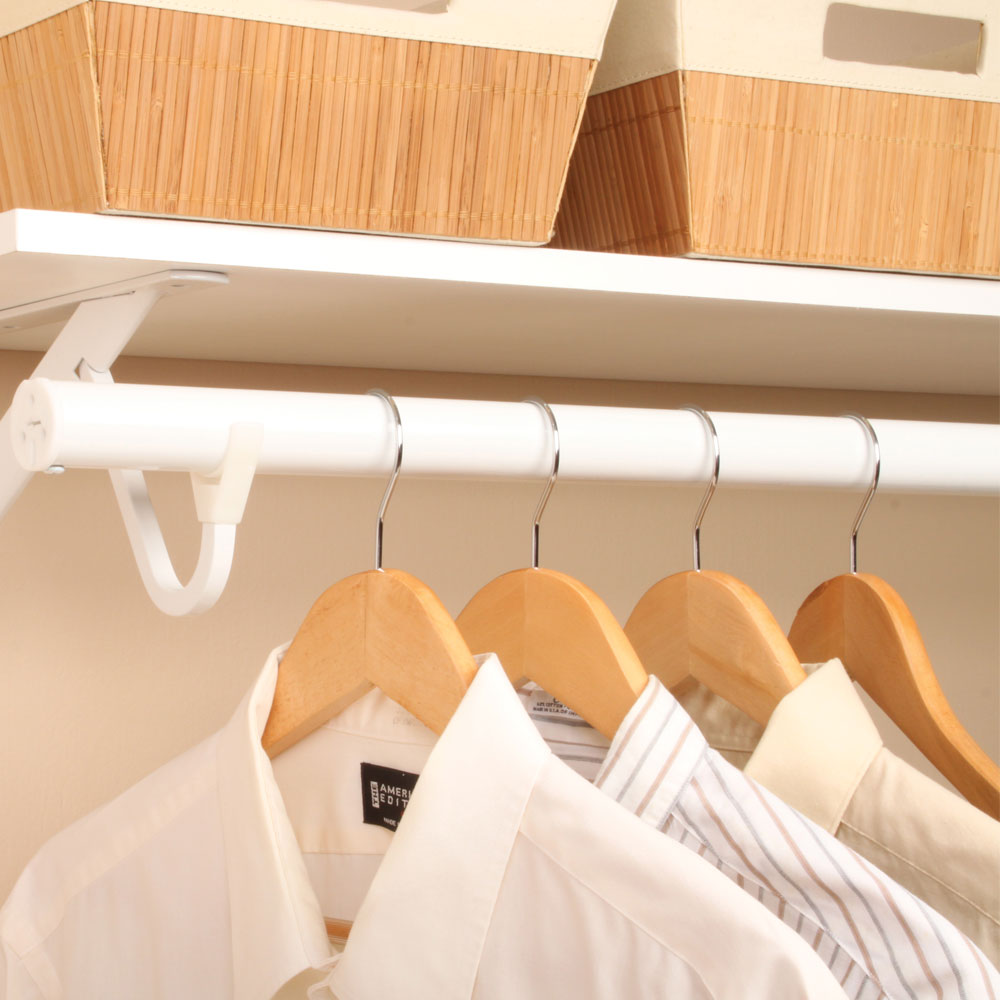 Extending Clothes Rod White In Closet Rods And Brackets