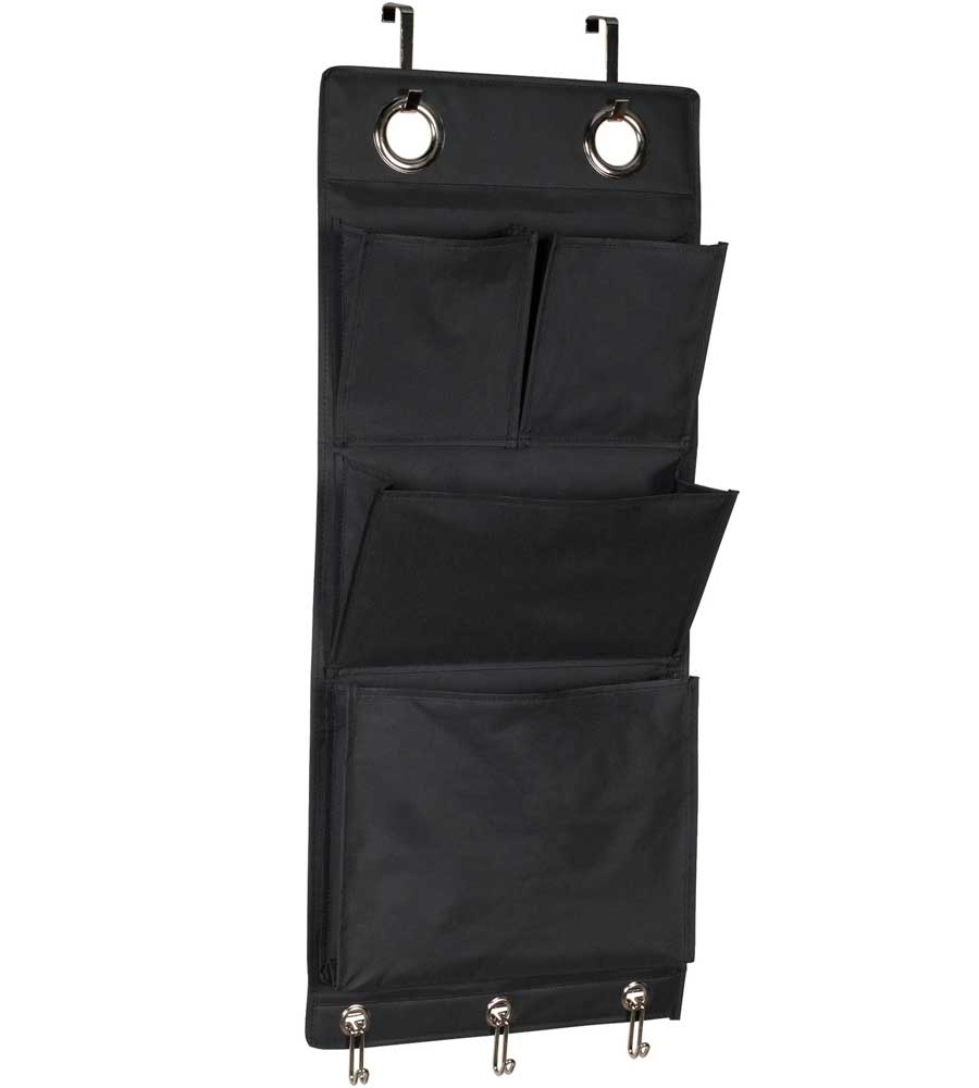 Eyelet Wall Or Over The Door Organizer   Black