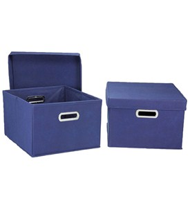 Fabric Storage Boxes - Navy (Set of 2) Image