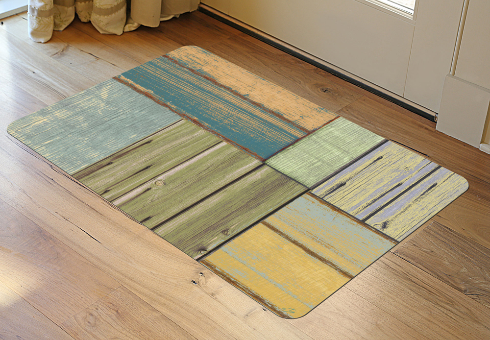 Faux floor rug patchwork wood in patterned rugs for Rugs for wood floors