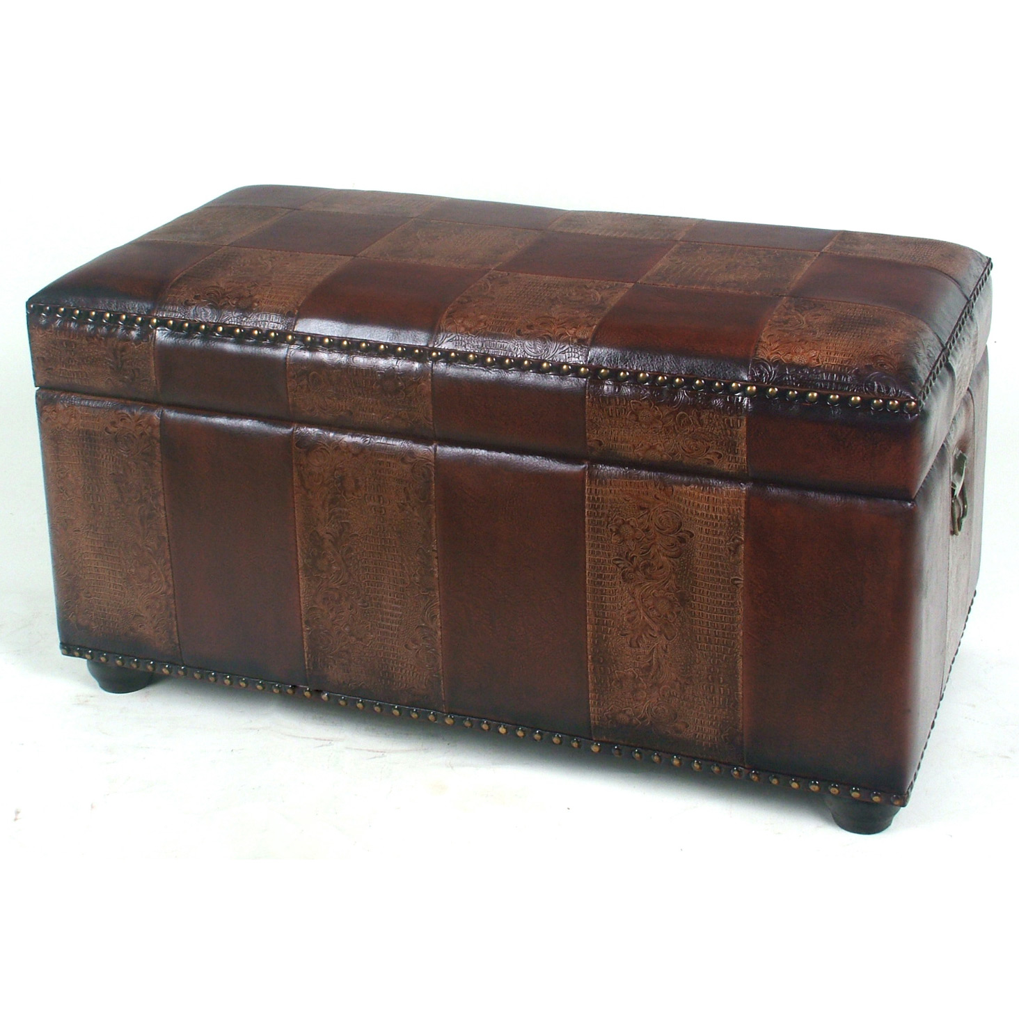 Faux Leather Bench Trunk With Lid By International Caravan In Storage Benches