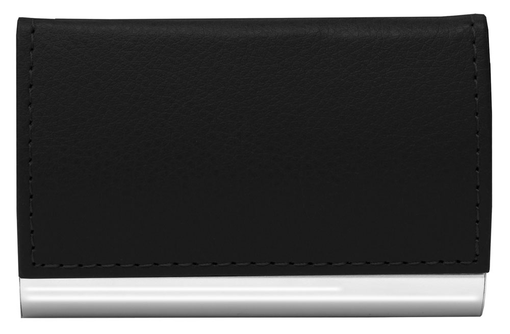 Faux leather business card holder black in wallets and for Black leather business card holder