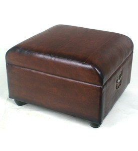 Faux Leather Ottoman Trunk with Lid by International Caravan Image