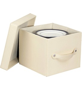 Faux Leather Plate Storage Box Image
