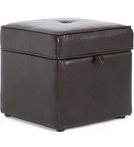 Faux Leather Storage Ottoman Image