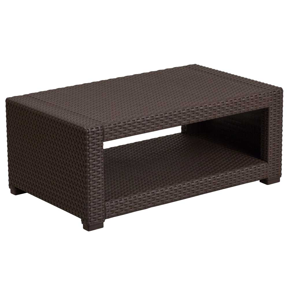 Brown Rattan Coffee Table Outdoor: Chocolate Brown In Outdoor